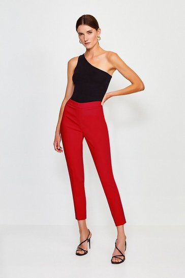 Red Essential Cotton Sateen Capri Trousers