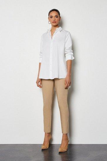 Stone Essential Cotton Sateen Capri Trousers
