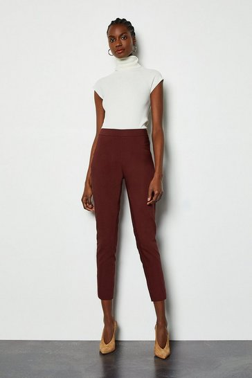 Wine Essential Cotton Sateen Capri Trousers