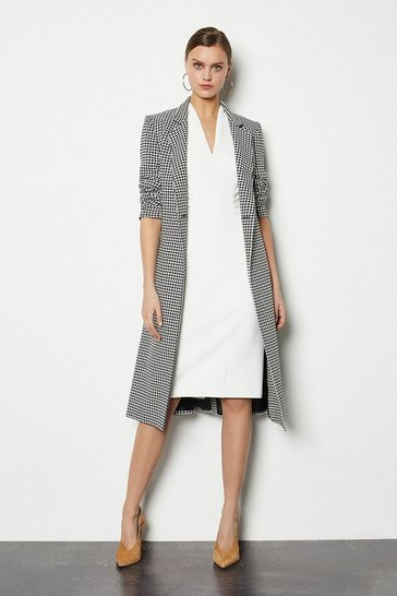 Blackwhite Black and White Check Tailored Coat