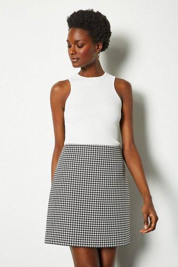 Blackwhite Check Mini Skirt