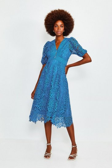 Blue Cutwork Lace Midi Dress