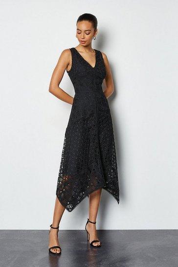 Black Panelled Lace Dress