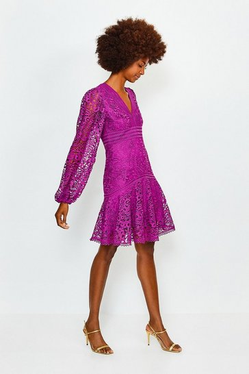 Purple Cutwork Lace Long Sleeve Dress