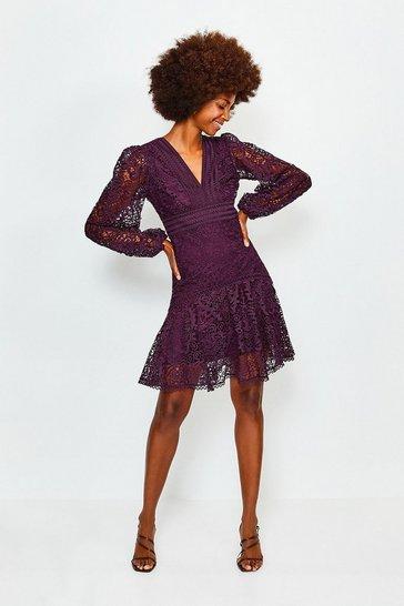 Wine Cutwork Lace Long Sleeve Dress