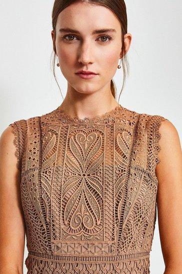 Beige Cutwork Lace Shift Dress