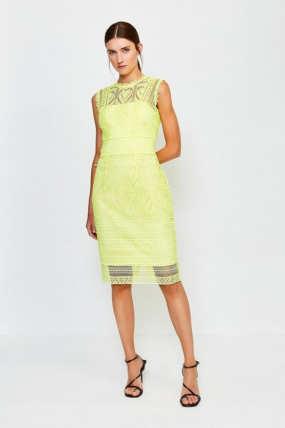 Lime Cutwork Lace Shift Dress