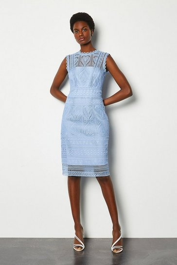 Pale blue Cutwork Lace Shift Dress