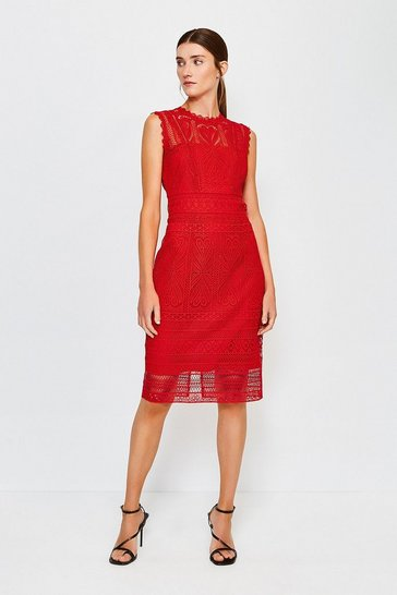 Red Cutwork Lace Shift Dress