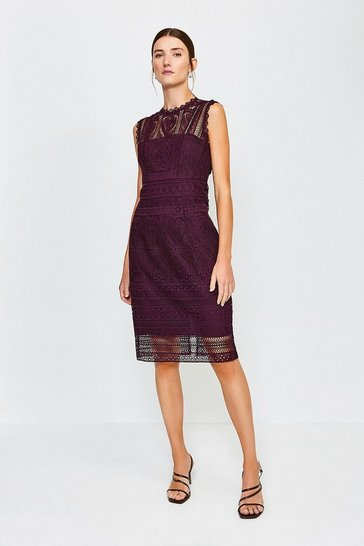 Wine Cutwork Lace Shift Dress