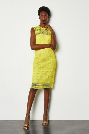 Yellow Cutwork Lace Shift Dress