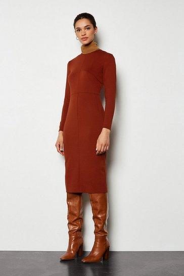 Rust Ponte Pencil Dress