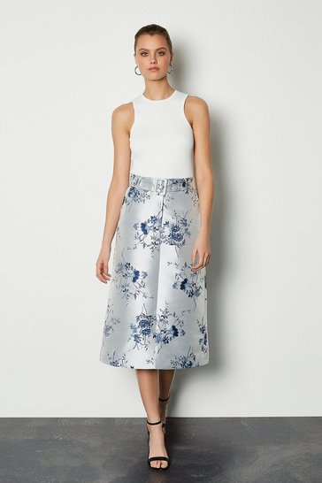 Floral Jacquard Midi Belted Skirt