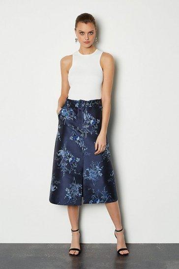 Floral Jacquard Belted Midi Skirt