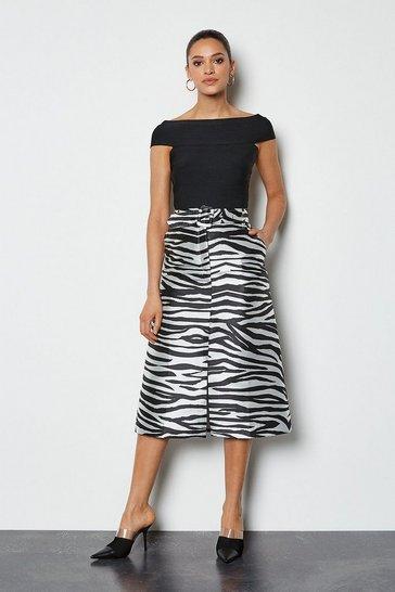 Zebra Jacquard Belted Midi Skirt
