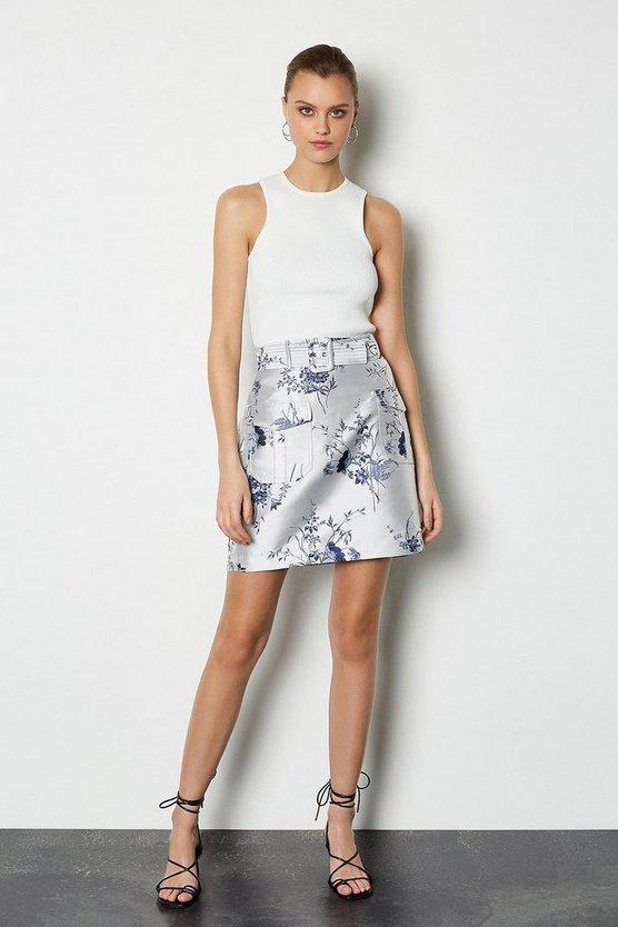 Floral Jacquard Short Belted Skirt