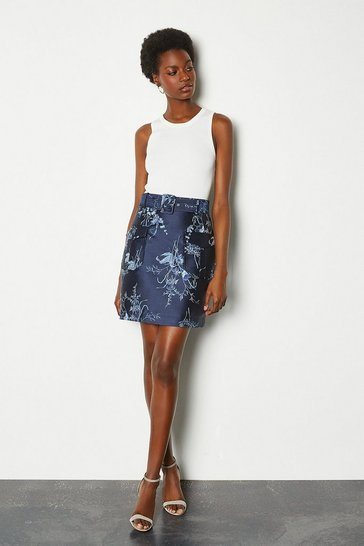 Pale blue Jacquard Short Belted Skirt