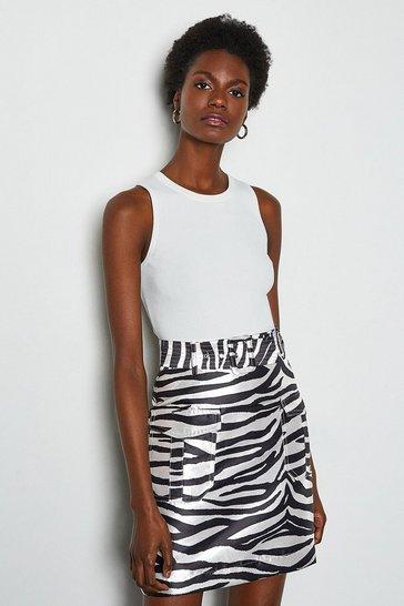 Zebra Jacquard Short Belted Skirt