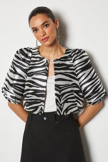Zebra Jacquard Cropped Jacket
