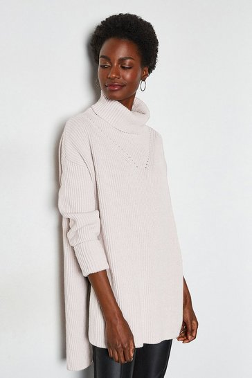 Mink Chunky Roll Neck Jumper With Side Splits