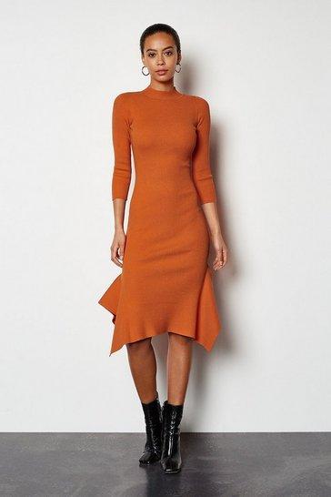 Orange Flippy Hem Rib Knit Midi Dress