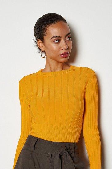 Orange Luxe Rib Knit Jumper