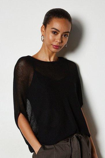 Black Lightweight Cocoon Knit Jumper