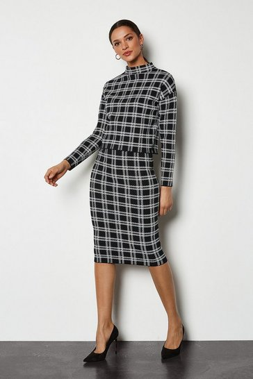 Black Bold Check Knit Skirt