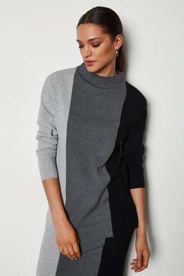 Grey Colour Block Stripe Long Line Jumper
