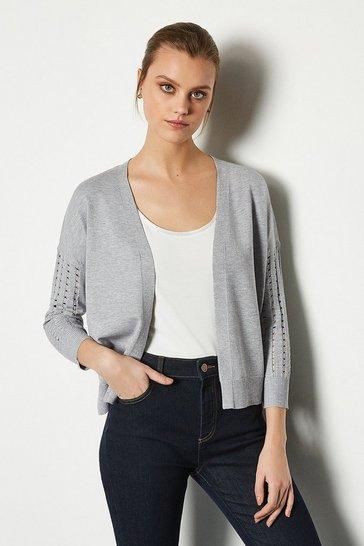 Grey Edge To Edge Open Knit Cardigan