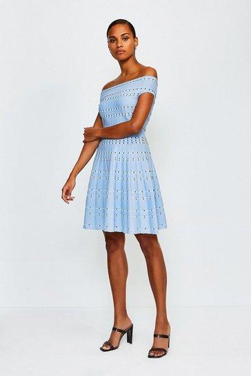 Blue Bardot Dot Fit And Flare Knit Dress