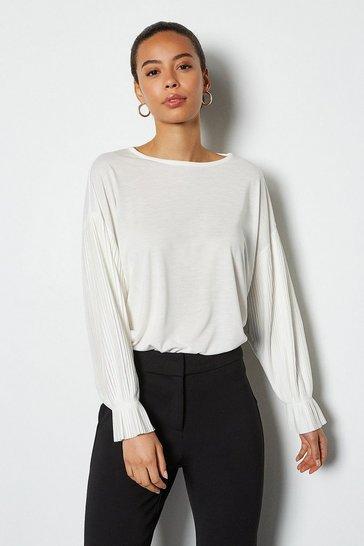 Ivory Pleat Long Sleeve Jersey Top