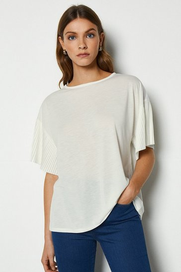 Ivory Pleat Sleeve Jersey Top