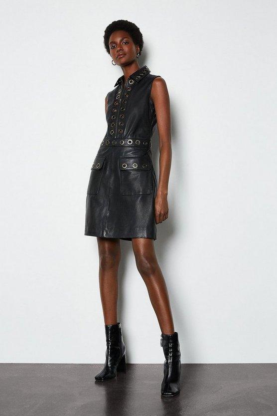 Black Leather Eyelet Mini Dress