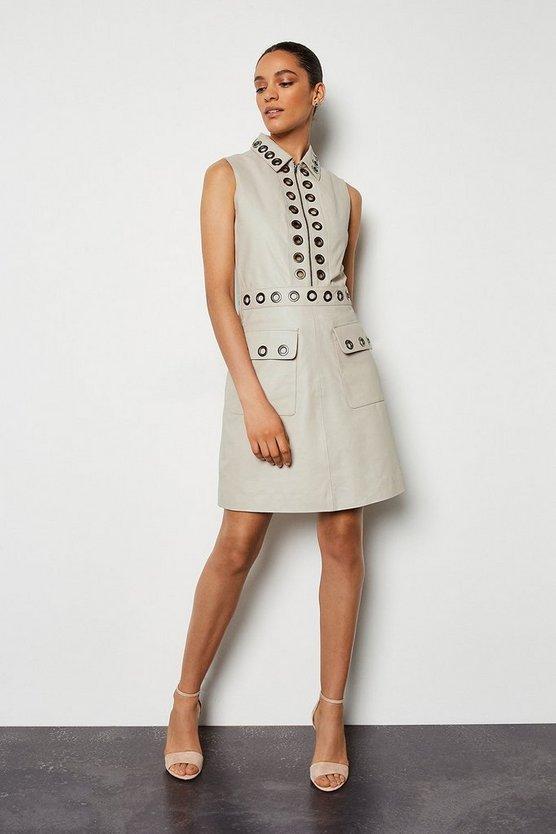 Stone Leather Eyelet Mini Dress