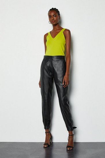 Black Bow Tie Leather Trousers