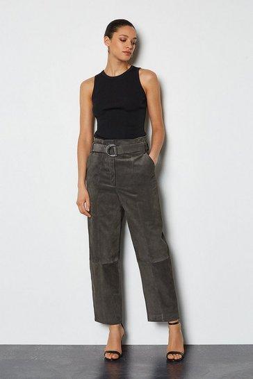 Dark grey Suede Belted Trouser