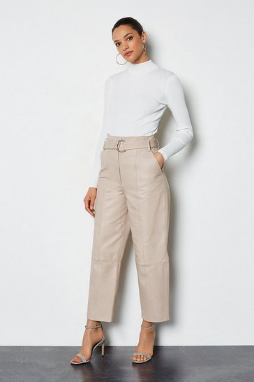 Taupe Leather Belted Trouser