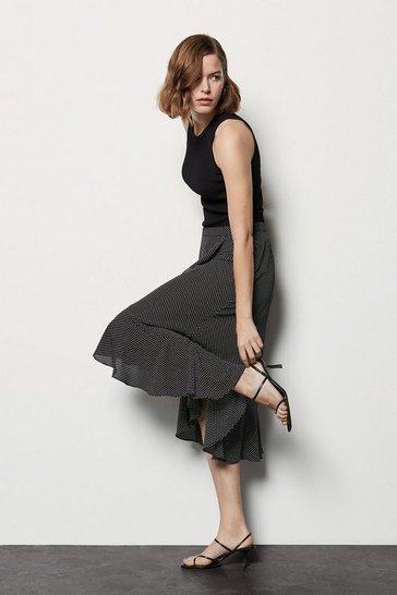 Blackwhite Spot Print Wrap Skirt
