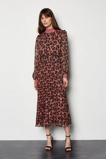 Pink Spot Print Shirring Waist Pleat Dress