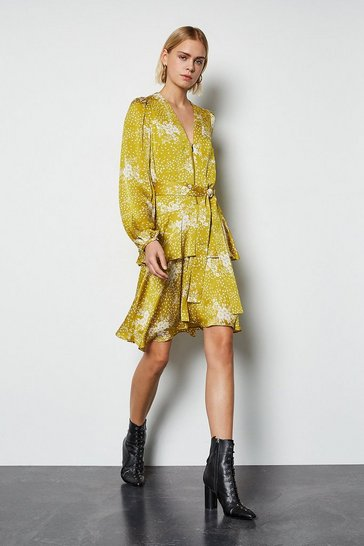 Mustard Zip Front Tiered Skirt Long Sleeve Dress