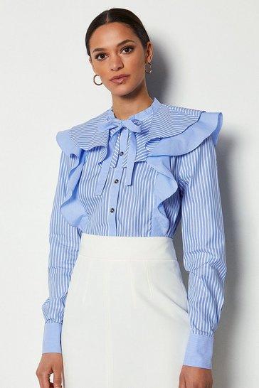 Cotton Stripe Long Sleeve Ruffle Blouse