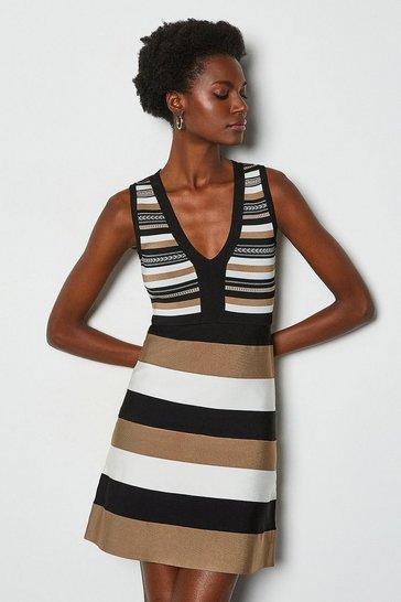 Brown Stripe Bandage Knit Dress
