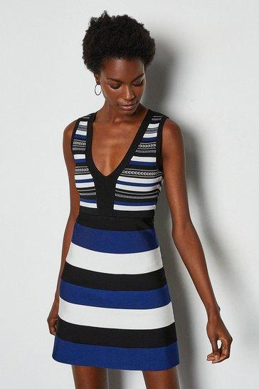 Navy Stripe Bandage Knit Dress