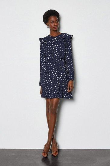 Blue Graphic Print Ruffle Long Sleeve Short Dress
