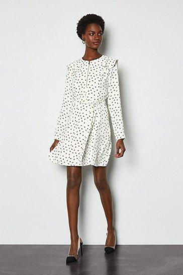 White Graphic Print Ruffle Long Sleeve Short Dress