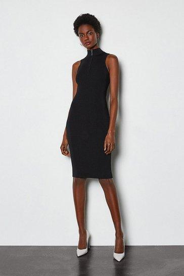 Black Racer Rib Turtle Neck Zip Knit Dress