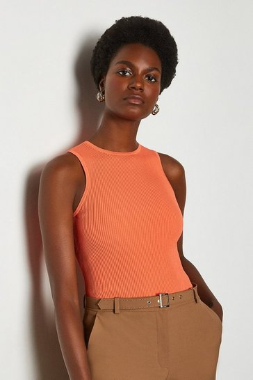 Apricot Racer Rib Knit Top