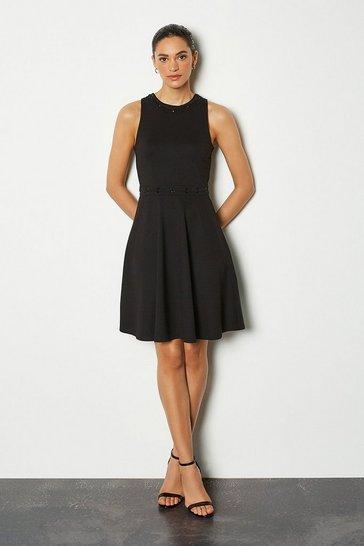 Black Eyelet Lacing Sleeveless Dress