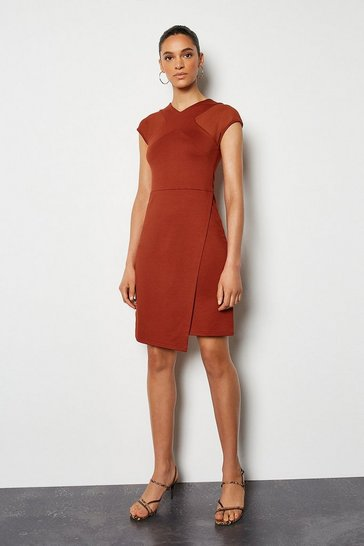 Brown Mesh and Jersey Mix Dress
